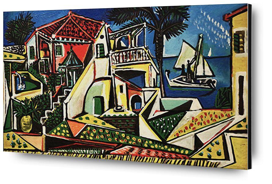 Mediterranean Landscape - PABLO PICASSO desde AUX BEAUX-ARTS, Prodi Art, cáscara, orilla del mar, sol, fiesta, playa, mar, pueblo, ciudad, PABLO PICASSO