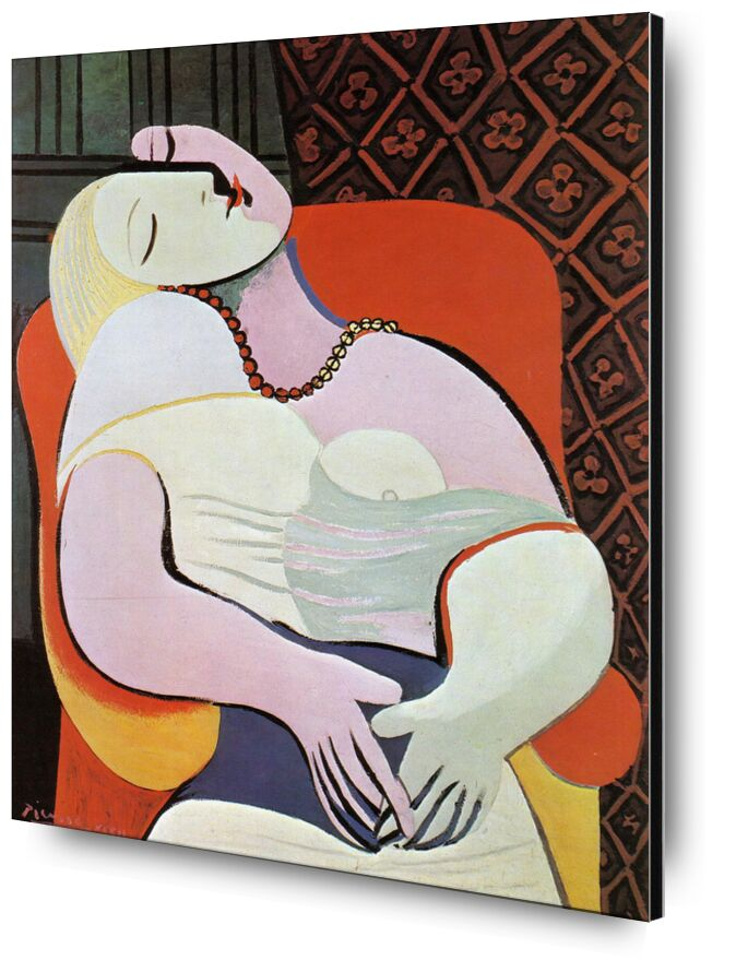 The dream - PABLO PICASSO from AUX BEAUX-ARTS, Prodi Art, woman, abstract, drawing, painting, oil painting, PABLO PICASSO, dream, sleep