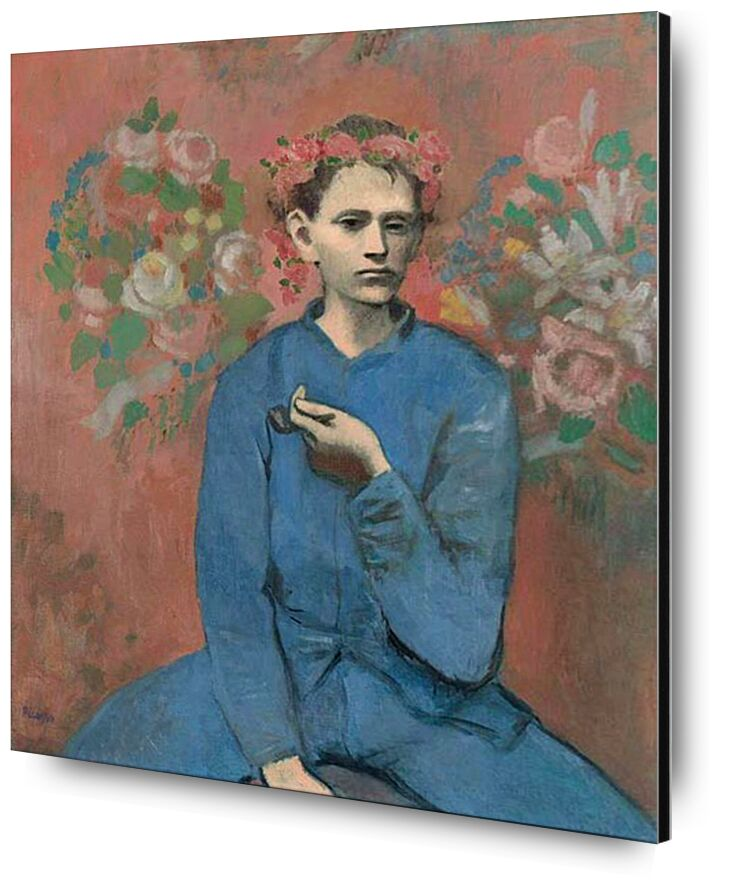Boy with pipe - PABLO PICASSO from Aux Beaux-Arts, Prodi Art, smokehouse, pipe, boy, worker, blue work, painting, smoke, PABLO PICASSO