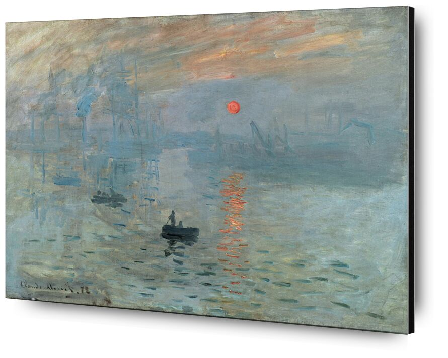 Impression, Sunrise 1872 - CLAUDE MONET from AUX BEAUX-ARTS, Prodi Art, sea, ocean, boat, Sun, small boat, ship, factory, CLAUDE MONET, job