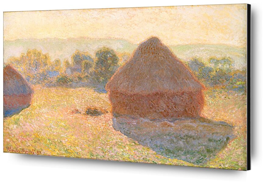 Haystacks, middle of the day - CLAUDE MONET 1891 from Aux Beaux-Arts, Prodi Art, meadow, fields, wheat fields, Sun, countryside, summer, holiday, haystacks