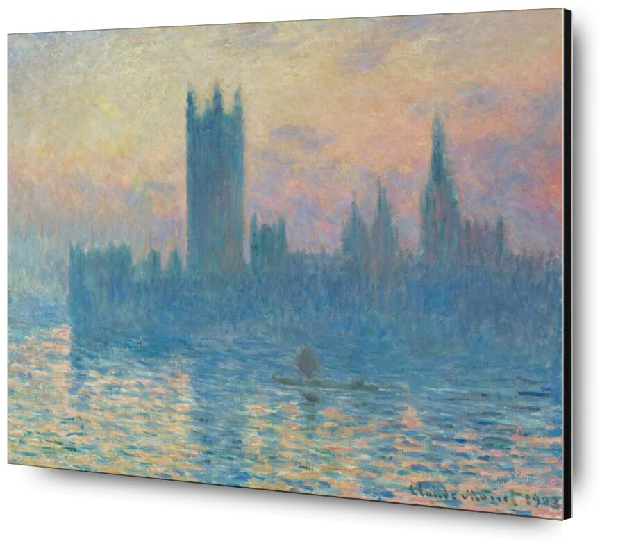 Houses of Parliament, London - CLAUDE MONET 1905 from AUX BEAUX-ARTS, Prodi Art, CLAUDE MONE, parliament of London, parliament, capital, Thames, london, River