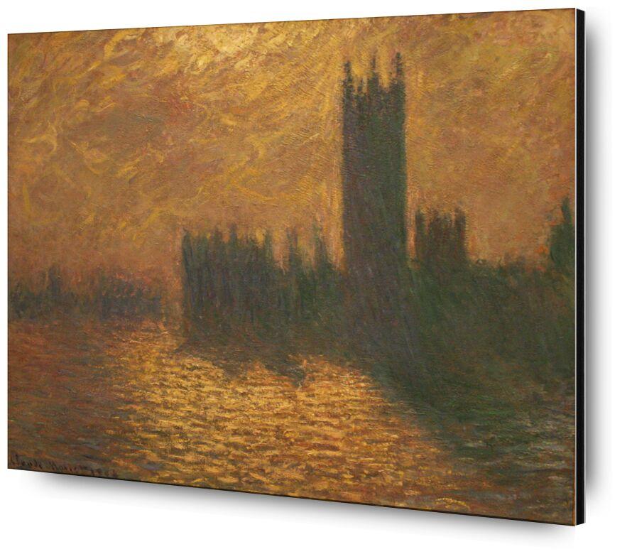 Houses of Parliament, stormy sky - CLAUDE MONET 1905 desde AUX BEAUX-ARTS, Prodi Art, Londres, cielo, Thames, río, capital, sol, CLAUDE MONET, cielo tormentoso