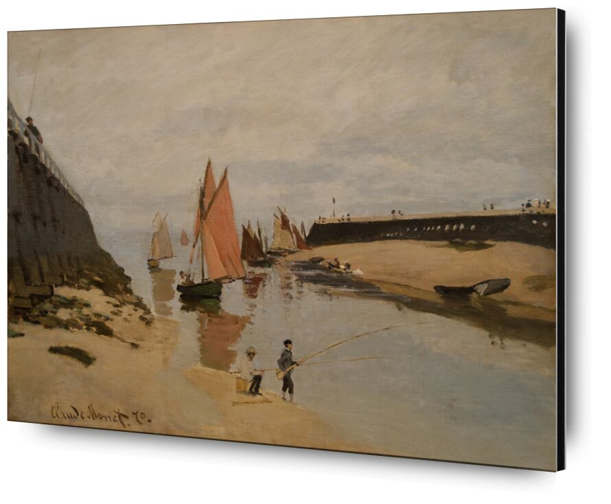 The harbour at Trouville - CLAUDE MONET 1870 from AUX BEAUX-ARTS, Prodi Art, port, River, river, children, clouds, painting, CLAUDE MONET, Trouville, peach, boats, sailing boat, port entrance
