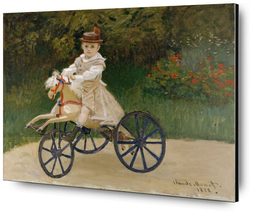 Jean Monet on his Hobby Horse  - CLAUDE MONET 1872 desde AUX BEAUX-ARTS, Prodi Art, juegos, jardín de infantes, caballito, triciclo, CLAUDE MONET, niño, velo
