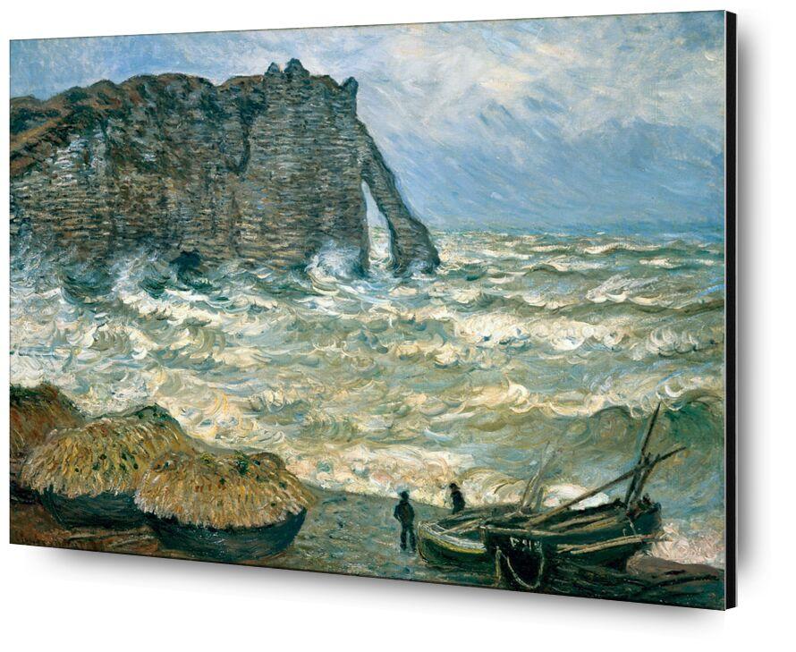 Stormy Sea in Étretat - CLAUDE MONET 1883 from AUX BEAUX-ARTS, Prodi Art, turbulent sea, CLAUDE MONET, clouds, sky, marine, boat, cliff, painting, storm, sea