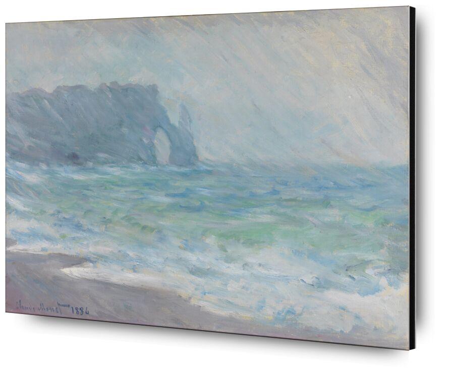 Étretat in the rain - CLAUDE MONET 1886 from AUX BEAUX-ARTS, Prodi Art, galais, CLAUDE MONET, turbulent sea, ocean, wave, sea, beach, cliff, rain
