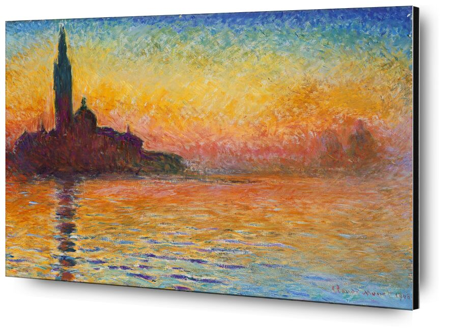 San Giorgio Maggiore at Dusk - CLAUDE MONET from Aux Beaux-Arts, Prodi Art, church, River, Sun, dusk, sunset, holiday, sea, beach, cathedral, CLAUDE MONET