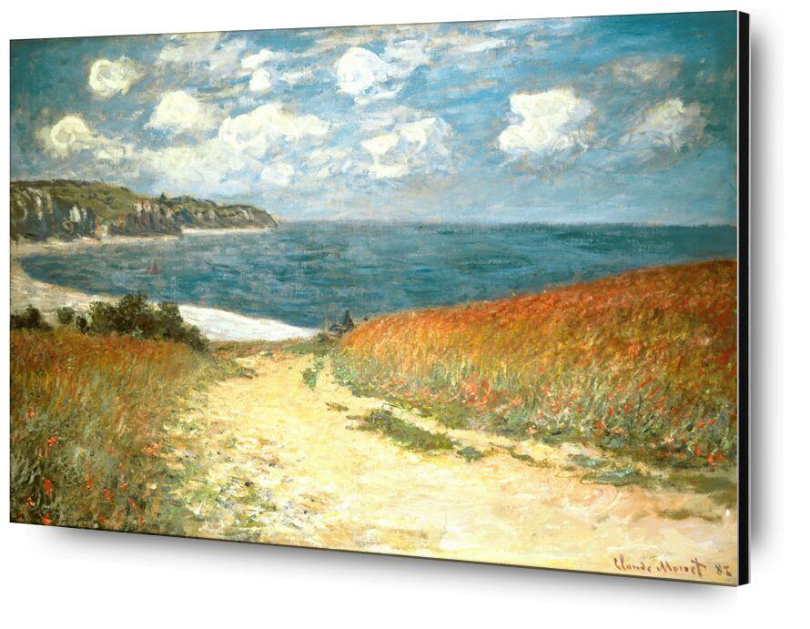 Chemin dans les blés à Pourville - CLAUDE MONET - 1882 de Aux Beaux-Arts, Prodi Art, chemin, plage, mer, océan, nuages, falaise, vacances, blé, coquelicot, peinture, CLAUDE MONET