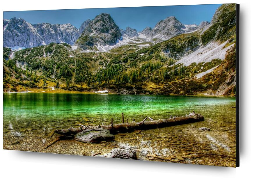 Green lake from Aliss ART, Prodi Art, log, wood, water, valley, trees, travel, snow, scenic, rock, River, reflection, outdoors, mountains, landscape, lake, hdr, cold, alpine, adventure