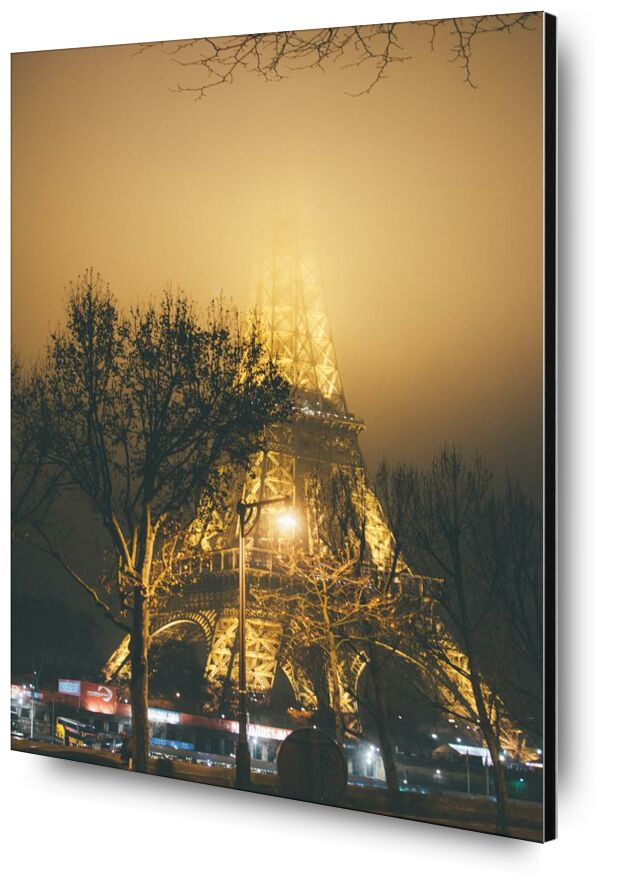 La dame de fer masquée from Aliss ART, Prodi Art, city, Eiffel Tower, evening, fog, foggy, France, hazy, HD wallpaper, illuminated, lights, mist, misty, night, outdoors, Paris, tower, trees, 4k wallpaper, steel structure, street lamps, street lights, tree branches
