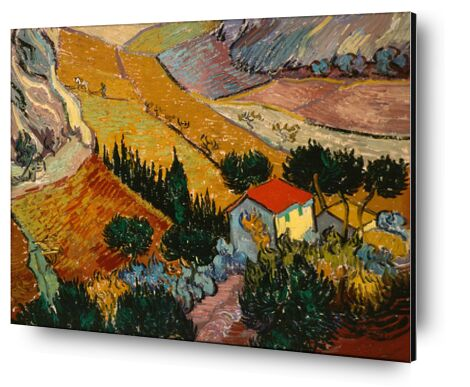 Landscape with House and Ploughman - VINCENT VAN GOGH 1889 from Aux Beaux-Arts, Prodi Art, Art photography, Aluminum mounting, Prodi Art
