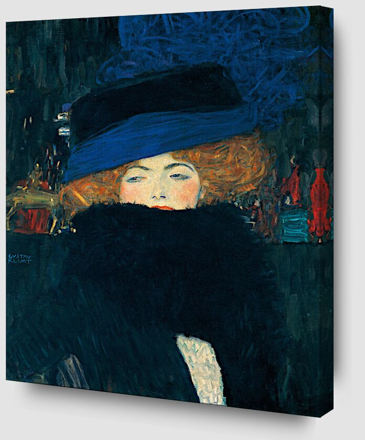 Dame au Chapeau et au Boa à Plumes - Gustav Klimt de AUX BEAUX-ARTS Zoom Alu Dibond Image