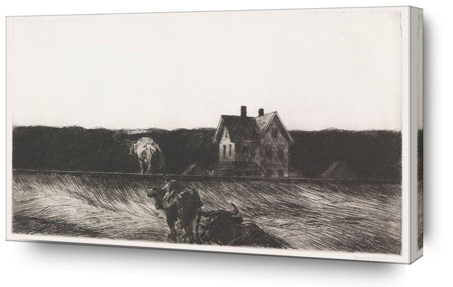 Paysage Américain - Edward Hopper de AUX BEAUX-ARTS, Prodi Art, Edward Hopper, paysage, dessin au crayon, nature, vache, paysan, agriculture