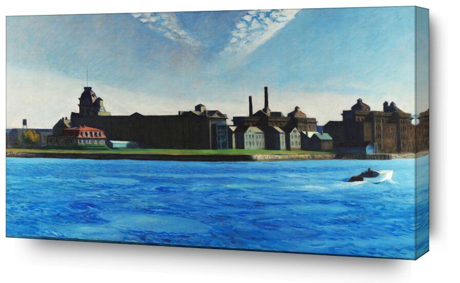Île de Blackwell - Edward Hopper de AUX BEAUX-ARTS, Prodi Art, Edward Hopper, île, bateau, New York, usine, ciel, bleu