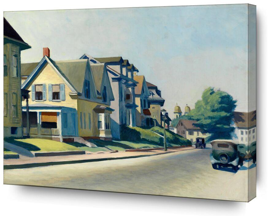 Soleil sur la Rue Prospect (Gloucester, Massachusetts) - Edward Hopper de AUX BEAUX-ARTS, Prodi Art, Edward Hopper, peinture, ville, rue, amérique, maison