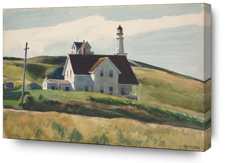 Colline et Maisons, Cape Elizabeth, Maine - Edward Hopper de AUX BEAUX-ARTS, Prodi Art, Edward Hopper, maisons, paysage, collines, prairies, phare, campagne