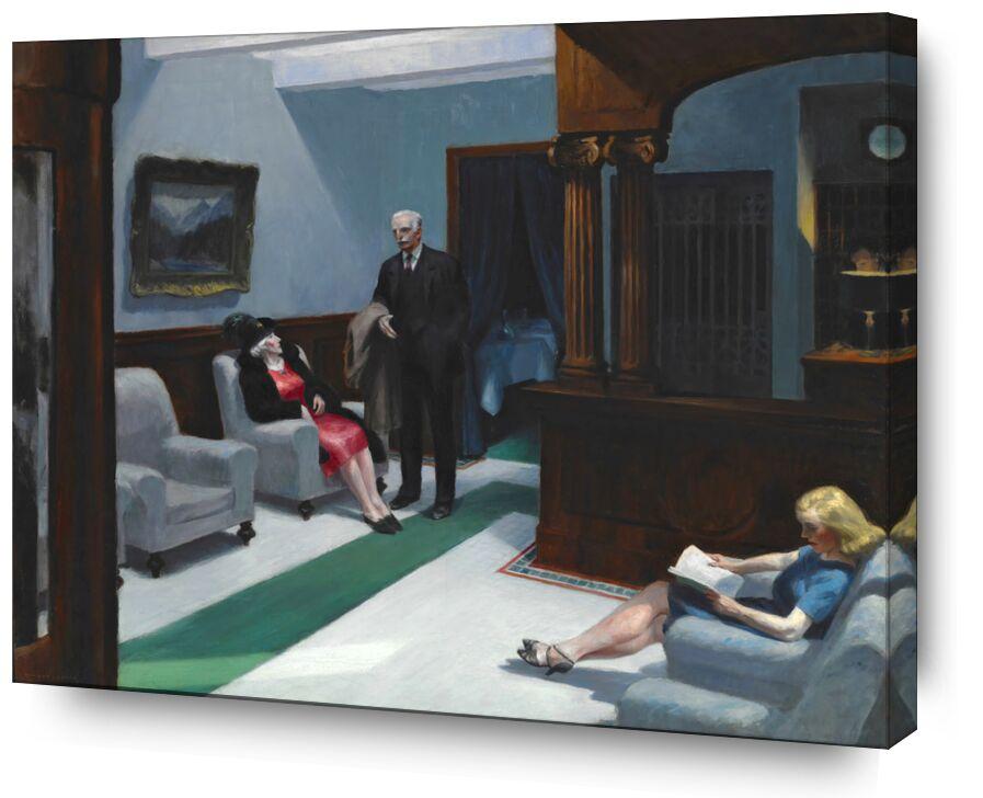 Hotel Lobby - Edward Hopper de AUX BEAUX-ARTS, Prodi Art, Edward Hopper, Un hôtel, peinture, femme, homme, accueil