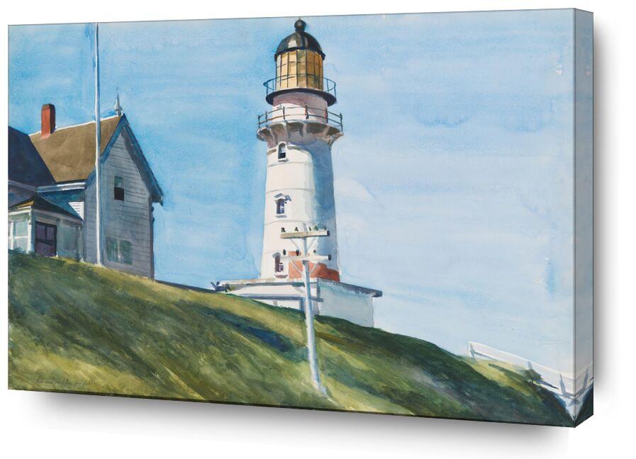 Lumière à Deux Lumières - Edward Hopper de AUX BEAUX-ARTS, Prodi Art, Edward Hopper, phare, mer, lumière, maison, ciel