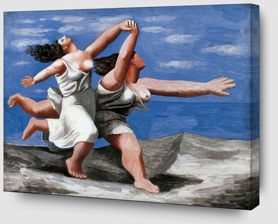 Deux femmes courant sur la plage de AUX BEAUX-ARTS Zoom Alu Dibond Image