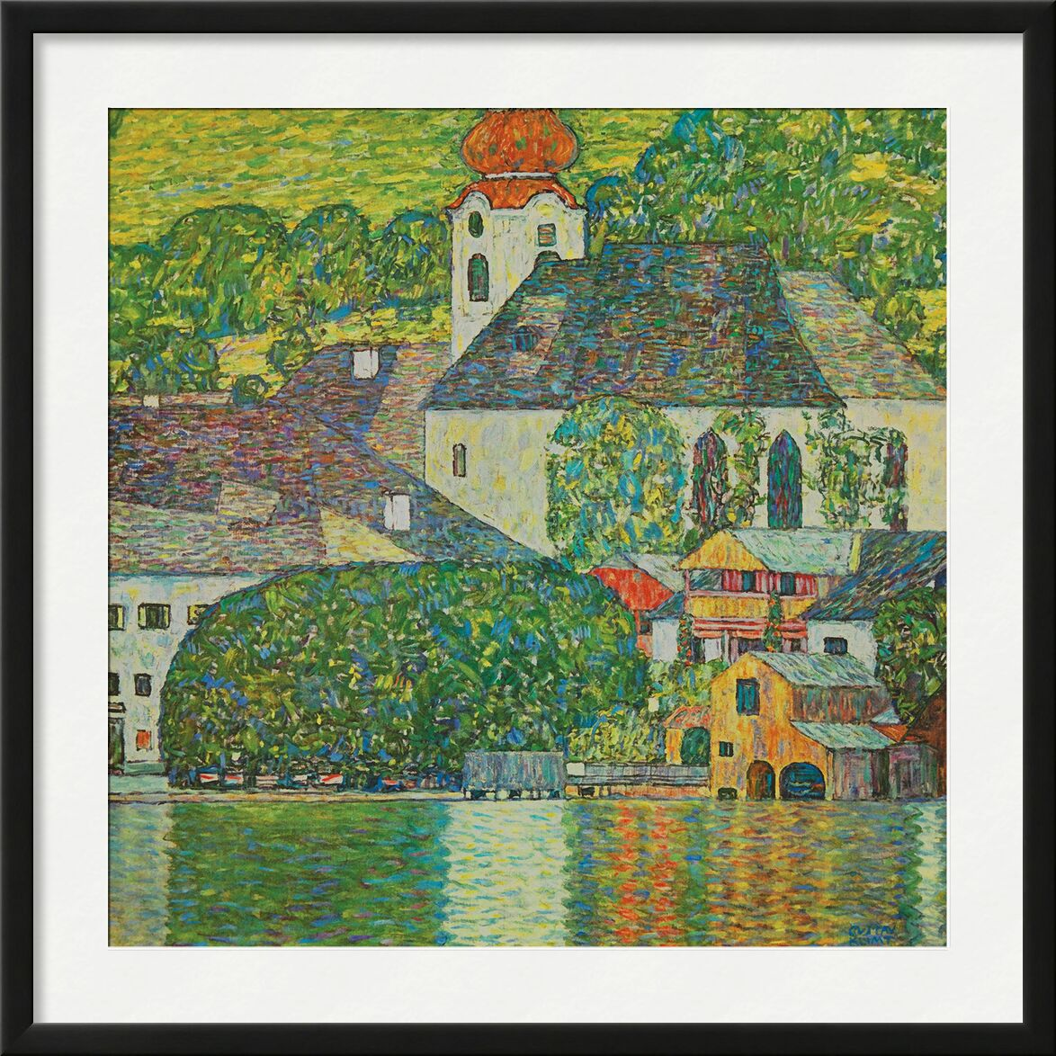 Church in Unterach on Attersee - Gustav Klimt from AUX BEAUX-ARTS, Prodi Art, KLIMT, church, painting, nature, village