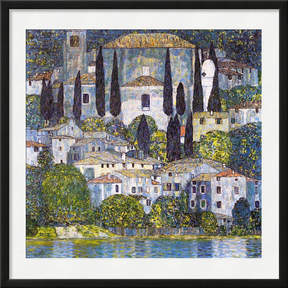 Church at Cassone sul Garda - Gustav Klimt from AUX BEAUX-ARTS, Prodi Art, KLIMT, church, lake, painting, nature, village