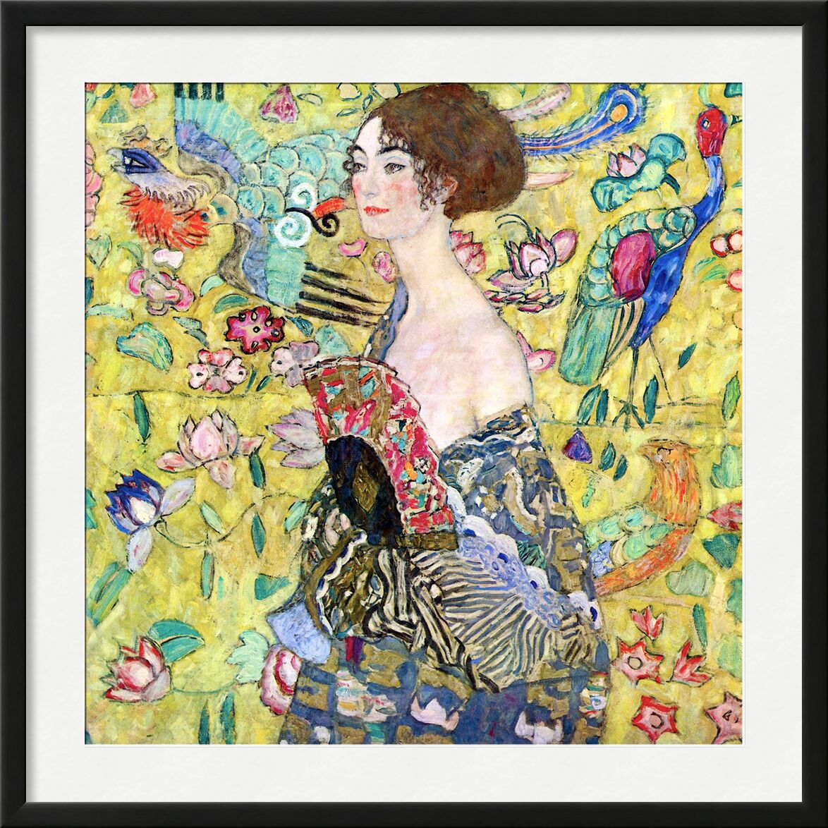 Lady with a Fan - Gustav Klimt from AUX BEAUX-ARTS, Prodi Art, KLIMT, lady, woman, range, painting, birds, yellow