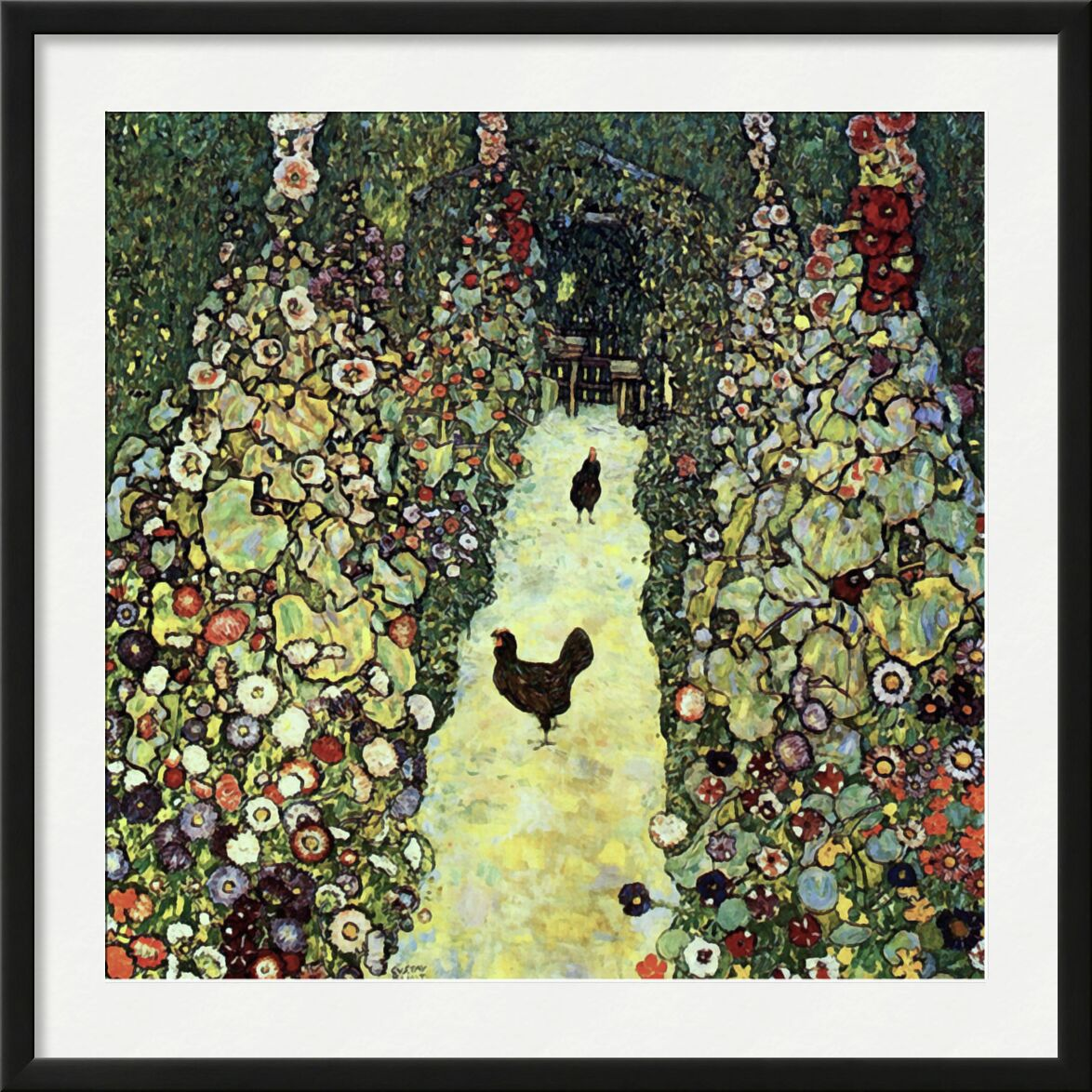 Garden Path with Chickens - Gustav Klimt from AUX BEAUX-ARTS, Prodi Art, KLIMT, nature, farm, peasant, agriculture, painting, hen, countryside, chicken