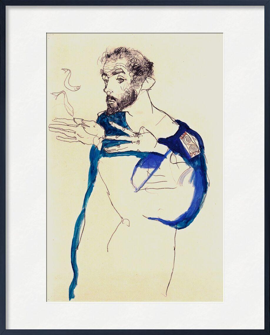 Painter Gustav Klimt in His Blue Painter's Smock, 1913 - Gustav Klimt von AUX BEAUX-ARTS, Prodi Art, Zigarette, Rauch, Zeichnung, Selbstporträt, Malerei, Maler, KLIMT