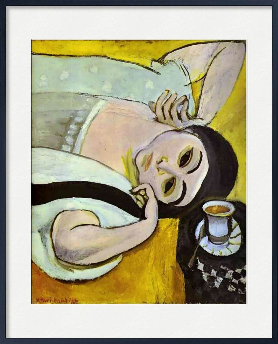 Laurette's Head with a Coffee Cup, 1917 - Henri Matisse from AUX BEAUX-ARTS, Prodi Art, Matisse, painting, coffee, bar, woman