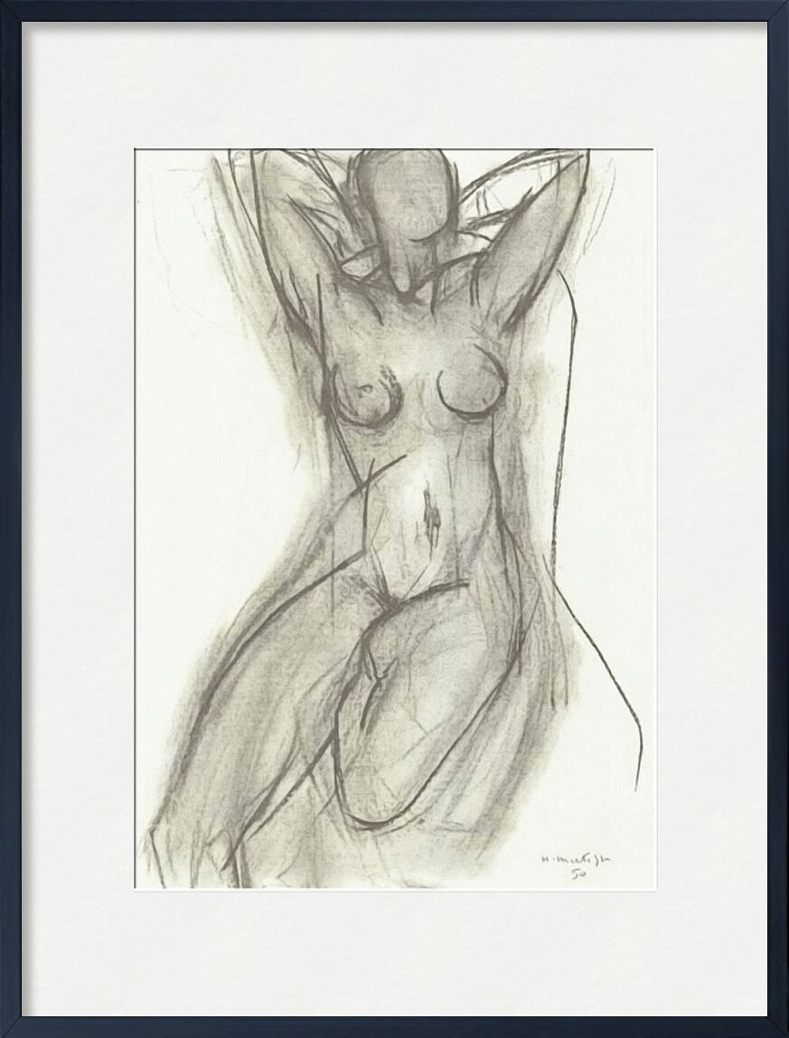 Nude in An Armchair, 1950 - Henri Matisse from AUX BEAUX-ARTS, Prodi Art, black-and-white, pencil, drawing, Matisse