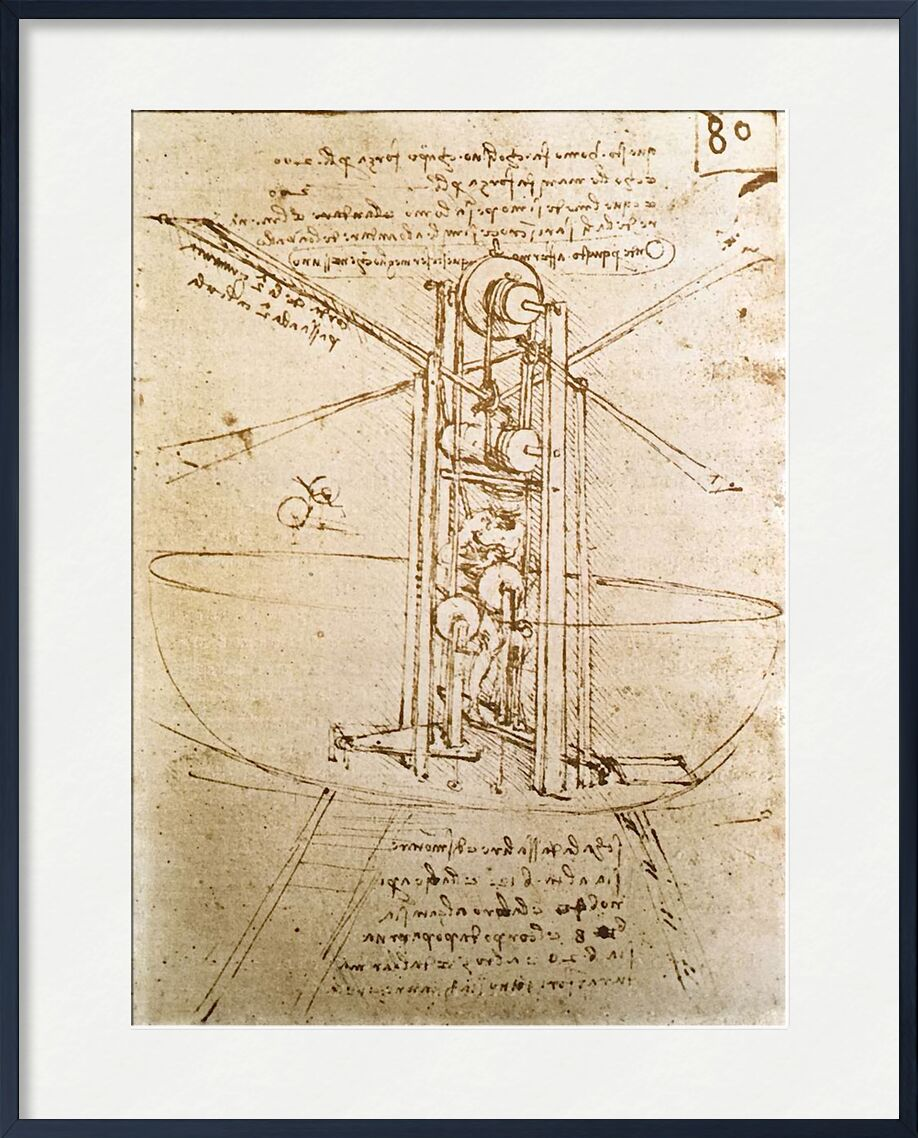 Vertically Standing Bird's-Winged Flying Machine - Leonardo da Vinci from AUX BEAUX-ARTS, Prodi Art, diagram, Leonardo da Vinci, aircraft, sketch, pencil drawing