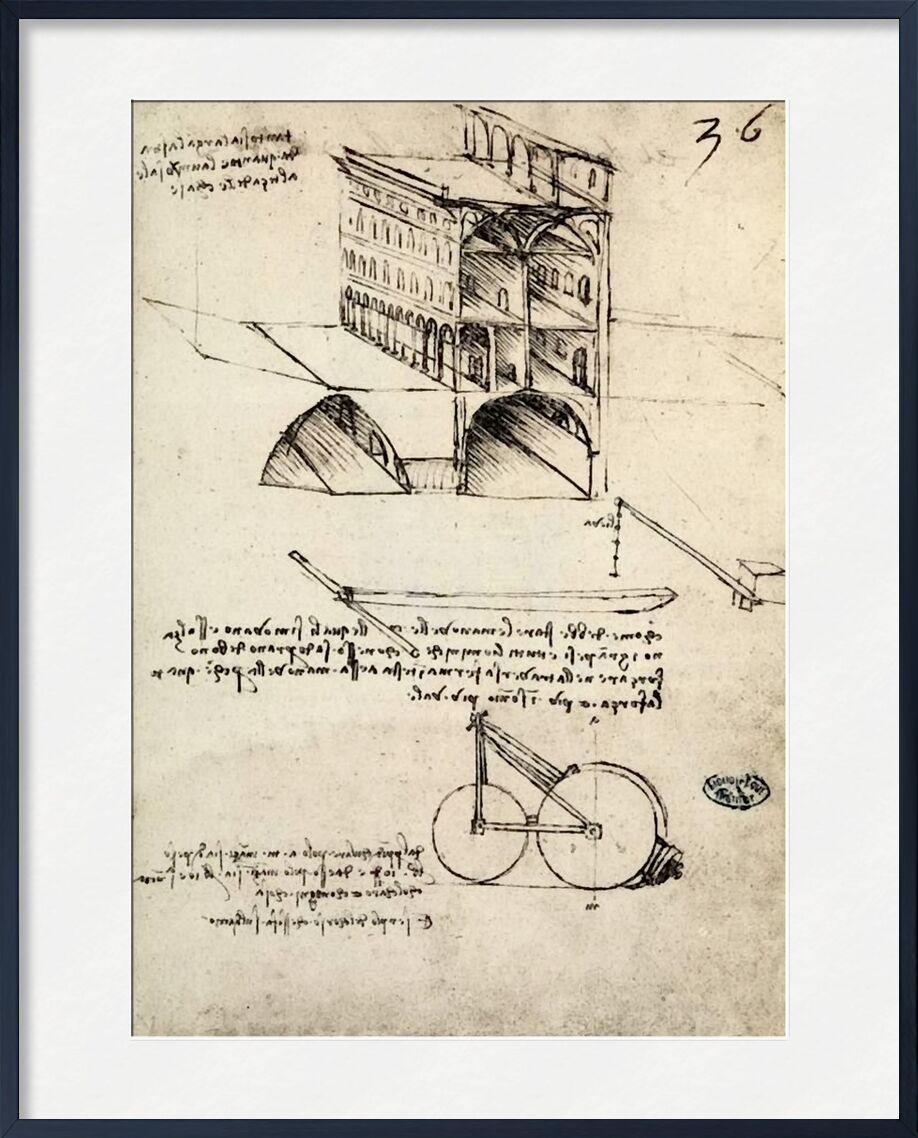 The Ideal City, View of a Building, Housed at the Institut De France, Paris - Leonard da Vinci from AUX BEAUX-ARTS, Prodi Art, Leonardo da Vinci, drawing, pencil drawing, city, epidemic