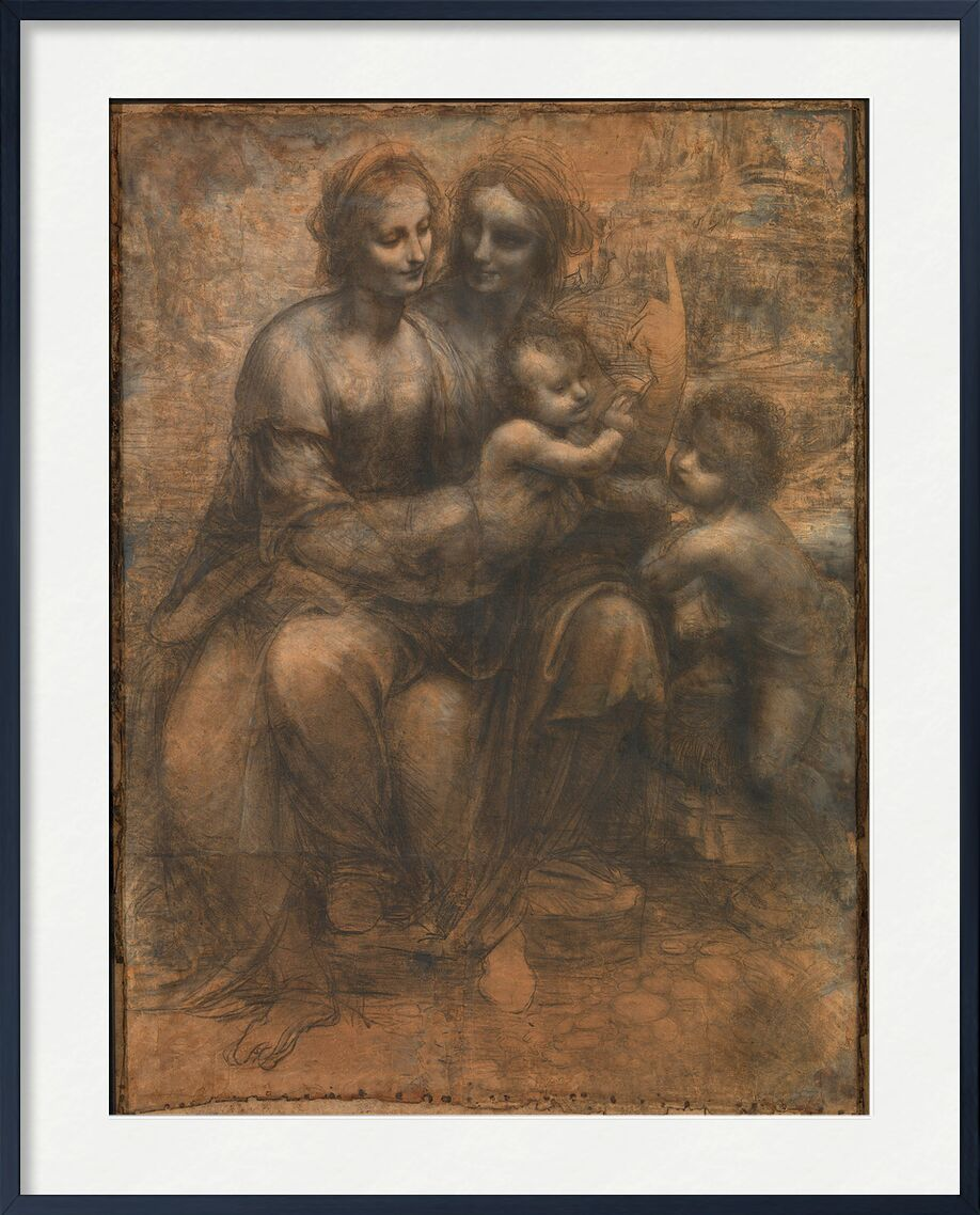 The Virgin and Child with Saint Anne and Saint John the Baptist - Leonardo da Vinci from AUX BEAUX-ARTS, Prodi Art, Leonardo da Vinci, drawing, pencil, Jesus, sketch, Sain Jean