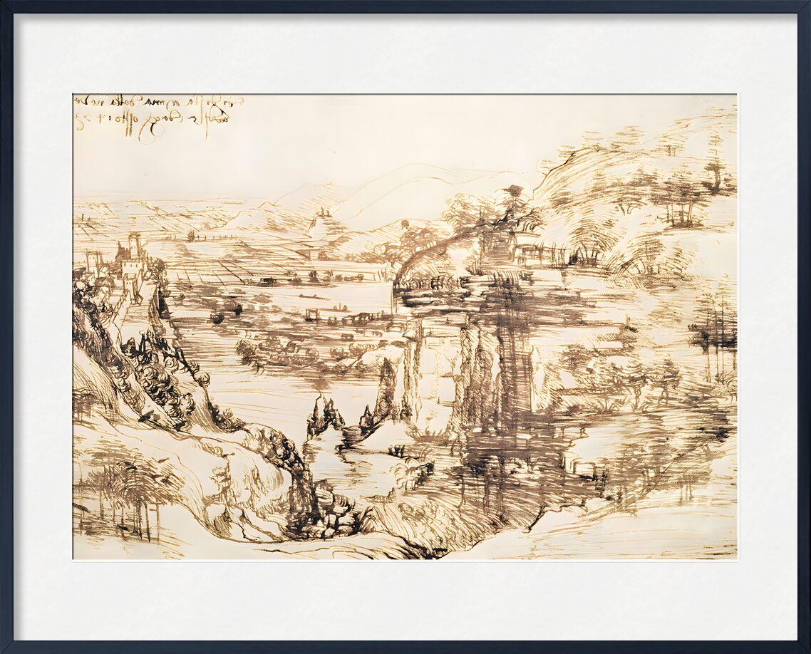 Arno Landscape - Leonardo da Vinci, 1473 von AUX BEAUX-ARTS, Prodi Art, Bleistiftzeichnung, Italien, Landschaft, Leonardo da Vinci