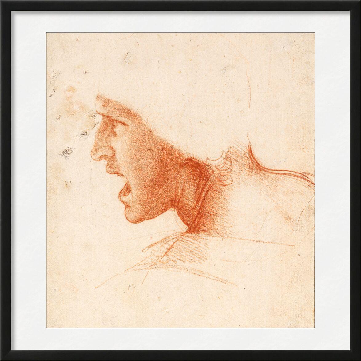 Recto Study for the Head of a Soldier in the Battle of Anghiari - Leonardo da Vinci von AUX BEAUX-ARTS, Prodi Art, Porträt, Leonard de Vinci, Soldat, Krieg, Bleistift, Zeichnung