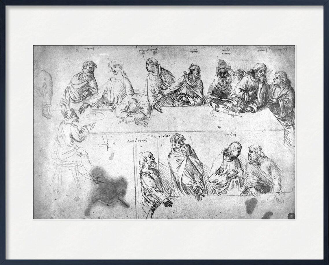 Preparatory Drawing For the Last Supper - Leonardo da Vinci von AUX BEAUX-ARTS, Prodi Art, das Abendmahl, Bleistift, Zeichnung, Leonard de Vinci, Entwurf, das letzte Abendmahl