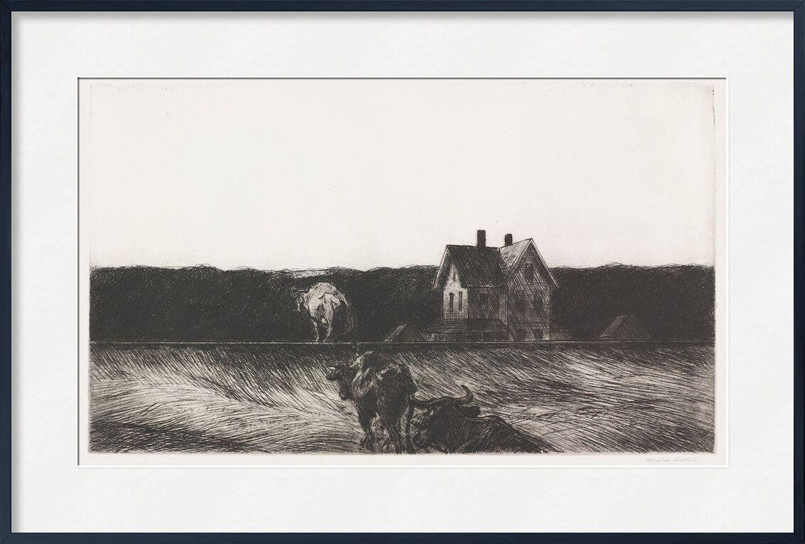 Amerikanische Landschaft - Edward Hopper von AUX BEAUX-ARTS, Prodi Art, Edward Hopper, Landschaft, Bleistiftzeichnung, Natur, Kuh, Bauer, Landwirtschaft