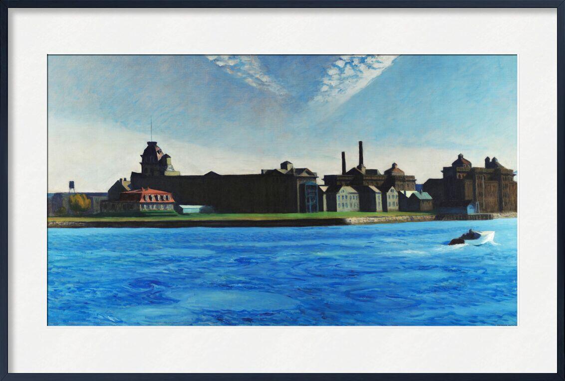 Blackwell Island - Edward Hopper from AUX BEAUX-ARTS, Prodi Art, Edward Hopper, island, boat, New-York, factory, sky, blue