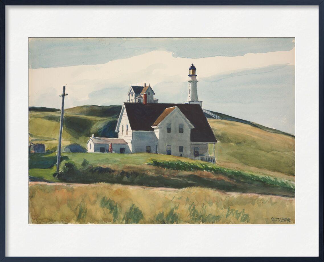 Hill and Houses, Cape Elizabeth, Maine - Edward Hopper from AUX BEAUX-ARTS, Prodi Art, Edward Hopper, houses, landscape, hills, meadows, headlight, countryside