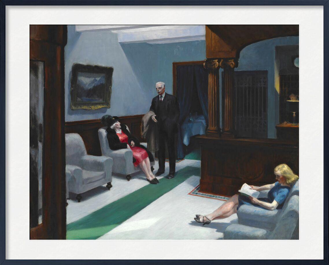 Hotel Lobby - Edward Hopper from AUX BEAUX-ARTS, Prodi Art, Edward Hopper, Hotel, painting, woman, man, reception