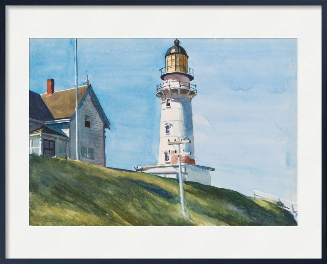 Light at Two Lights - Edward Hopper from AUX BEAUX-ARTS, Prodi Art, Edward Hopper, headlight, sea, light, House, sky