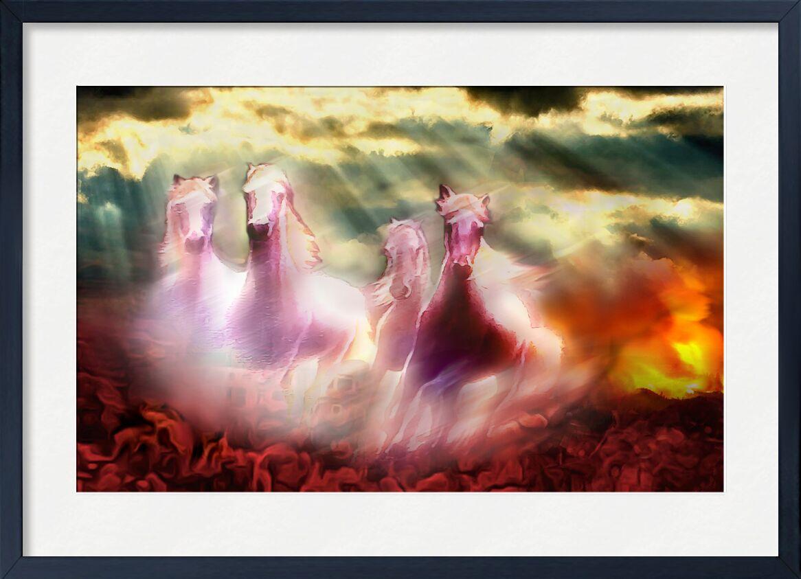 Descent of the horses from Adam da Silva, Prodi Art, bright, ray of sunshine, horses, red, clouds, cloud, sky, apocalypse, paradise