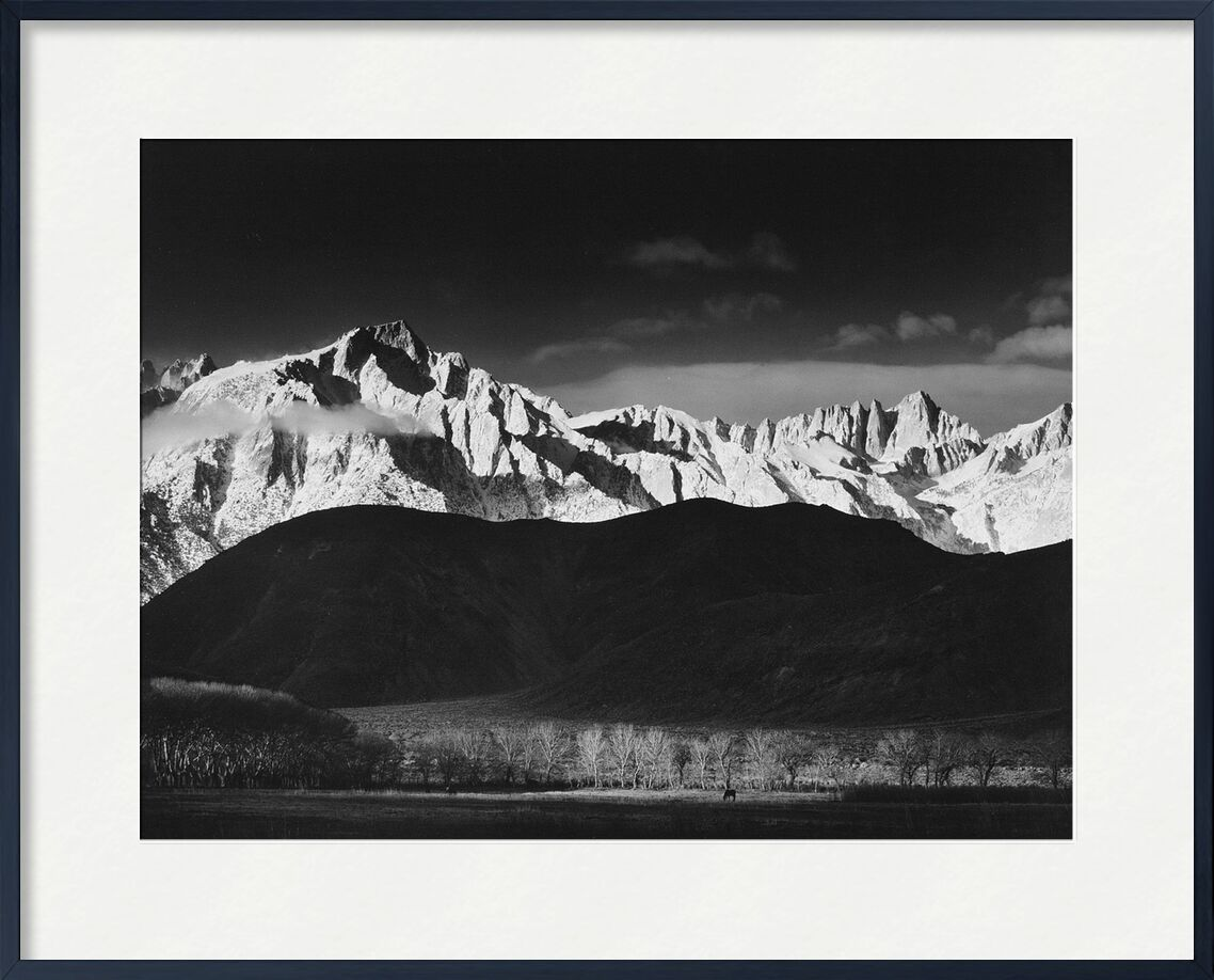 Winter Sunrise from Lone Pine, Sierra Nevada - Ansel Adams 1944 from AUX BEAUX-ARTS, Prodi Art, mountains, ANSEL ADAMS, sky, black-and-white, landscape, forest, lake, USA, Sierra Nevada, adams