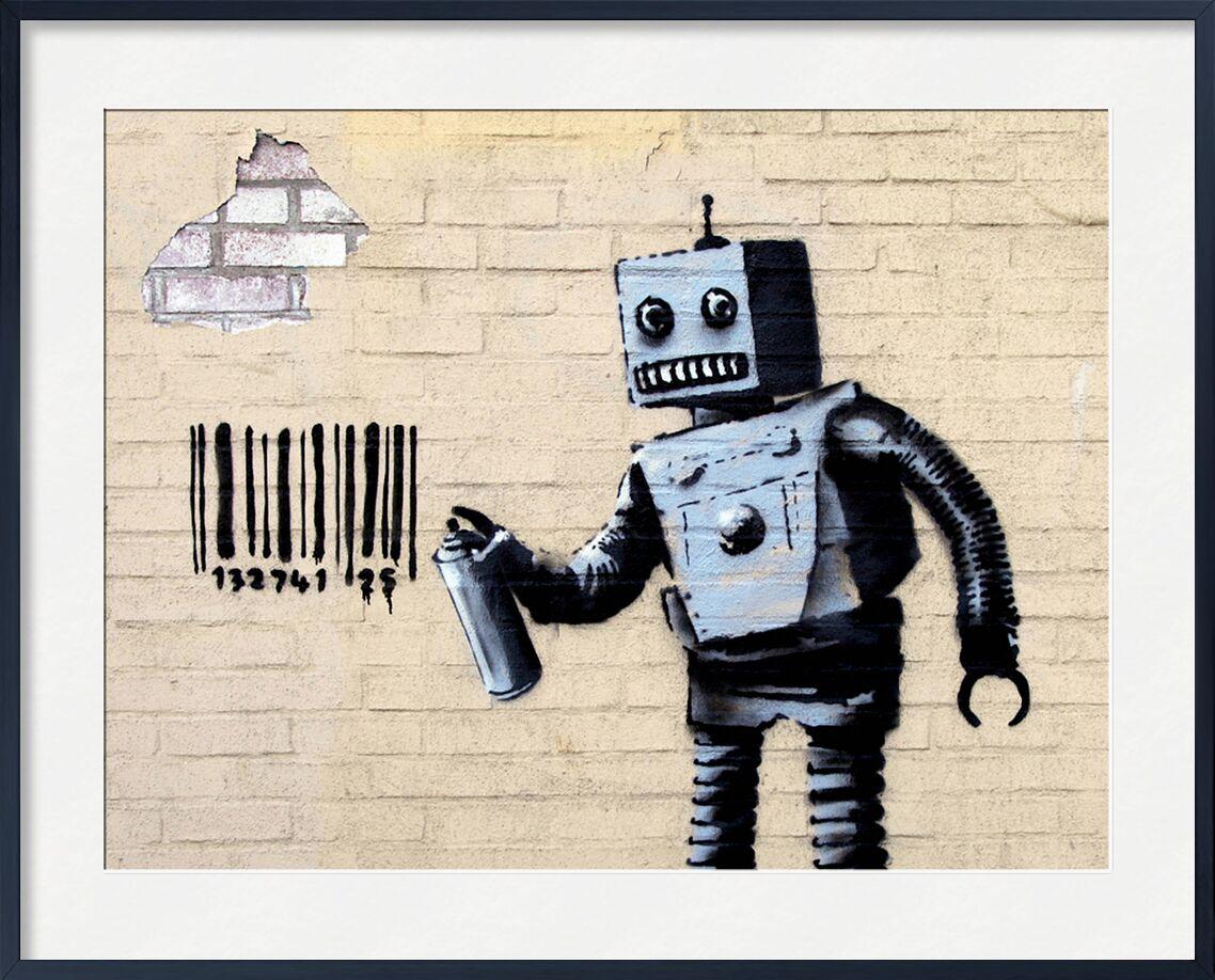 Robot - BANKSY from AUX BEAUX-ARTS, Prodi Art, banksy, robot, street art, bar code