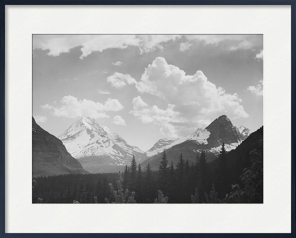 Looking Across Forest To Mountains And Clouds - Ansel Adams from AUX BEAUX-ARTS, Prodi Art, mounting, cloud, landscape, black-and-white, snow, winter, fir