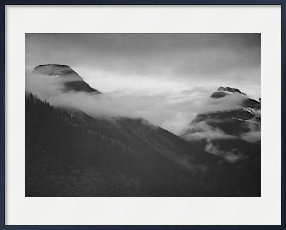 Mountain Partially Covered With Clouds - Ansel Adams from AUX BEAUX-ARTS, Prodi Art, ANSEL ADAMS, mountains, black-and-white, snow, winter