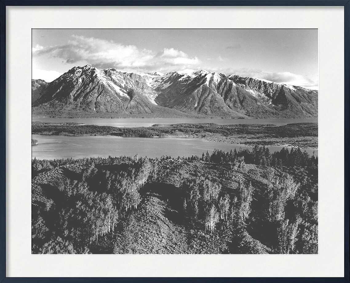 Grand Teton, National Park Wyoming - Ansel Adams from AUX BEAUX-ARTS, Prodi Art, ANSEL ADAMS, mountains, trees, black-and-white, Wyoming
