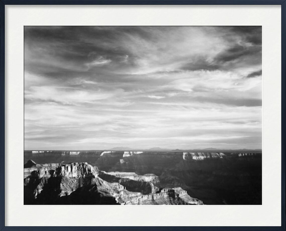 View Of Canyon In Foreground Horizon Montains - Ansel Adams from AUX BEAUX-ARTS, Prodi Art, ANSEL ADAMS, black-and-white, mountains, canyon
