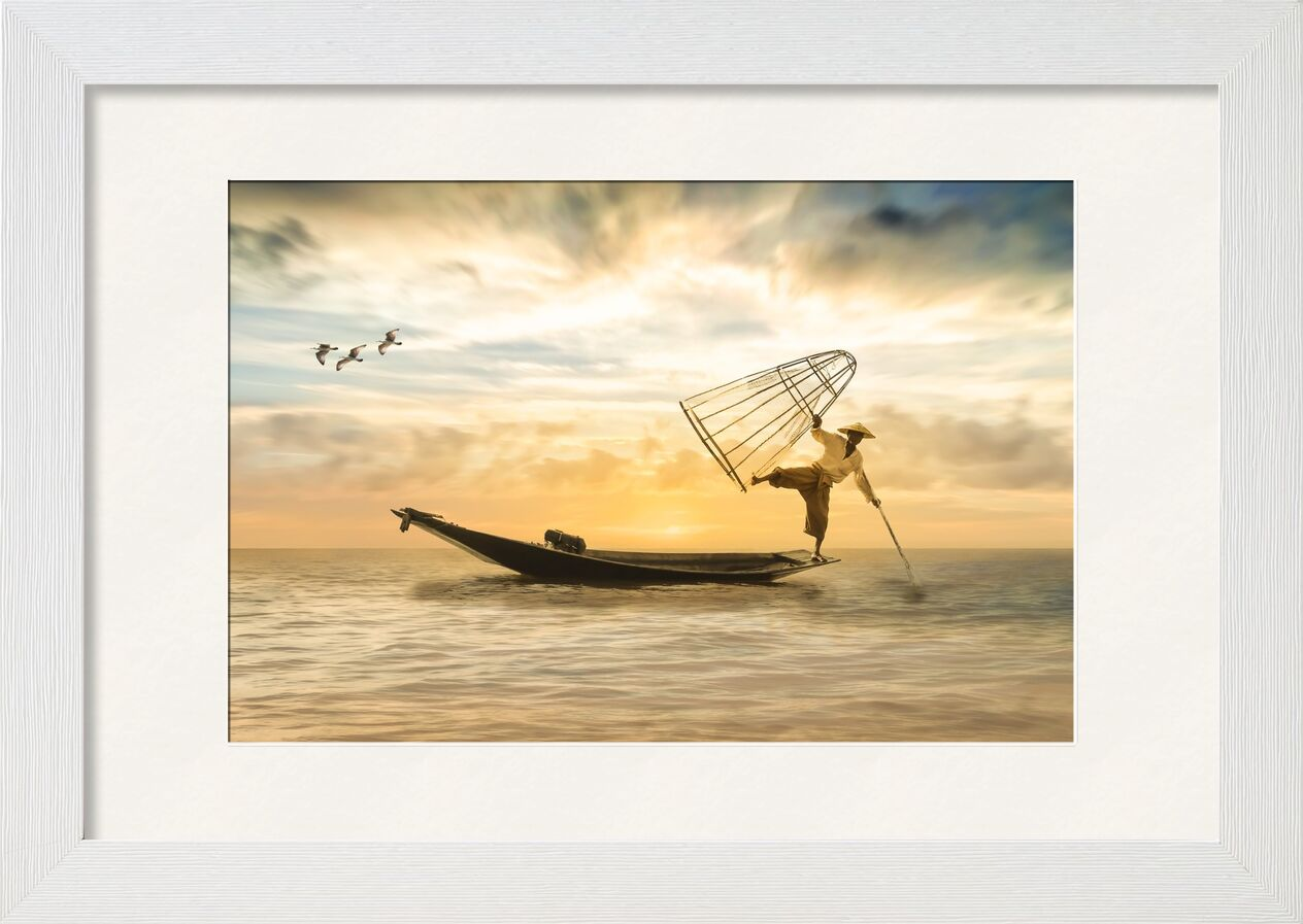 The fisherman from Pierre Gaultier, Prodi Art, fischer, fishing boat, boot, fish, sea, water, lake, fishing net, gulls, sky, sunset, romantic, landscape, clouds, nature, mood, abendstimmung, evening sky, bright, silent, rest, setting sun, romance, atmospheric, photo montage, composing
